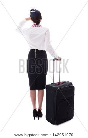 Back View Of Stewardess Standing With Suitcase Isolated On White