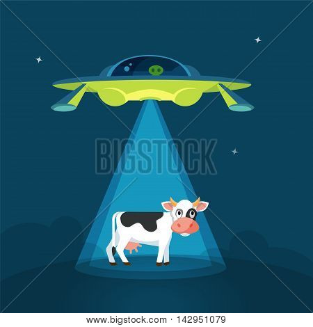 Cartoon funny aliens spaceship abducts the cow, colorful flat vector illustration