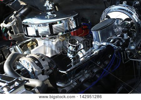 Engine of the vehicle with chrome accents