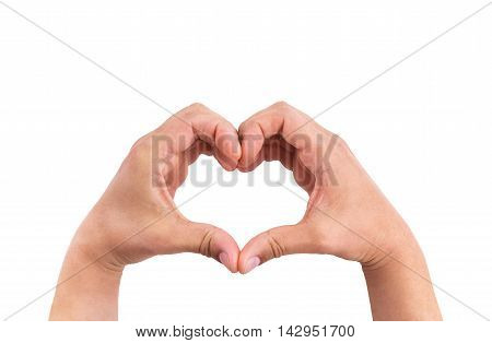 Man Hands In The Form Of Heart Against The White Background, Hands In Shape Of Love