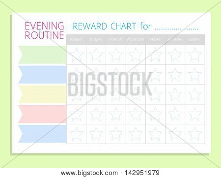 Daily Evening Routine. Sticker Rewards Chart. Vector Blank A4