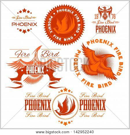 Phoenix - fire birds and flames logo. Vector set of abstract concepts, logo design and emblems on white background.