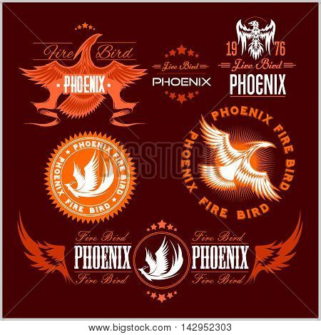 Phoenix - fire birds and flames logo. Vector set of abstract concepts, logo design and emblems on dark background.