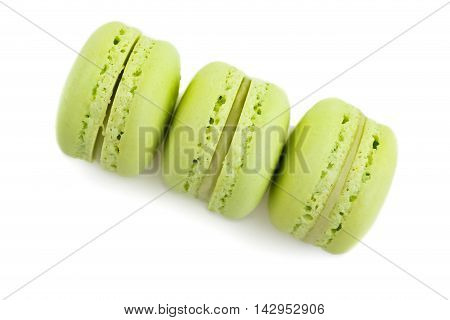 Top Of View Of Three Stacked Green Cake Macaron Isolated On White Background, Maccarone Sweet Desser