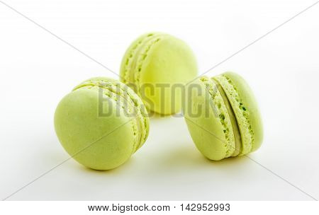 Three Green Cake Macaron Isolated On White Background, Maccarone Sweet Dessert