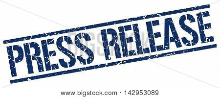 press release stamp. blue grunge square isolated sign