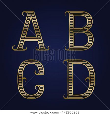 A B C D golden ribbed letters with flourishes. Horizontal stripes vintage font.
