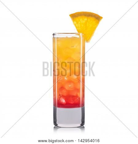 Red shot cocktail with orange isolated on white background.