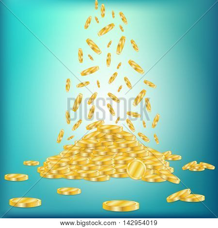 Golden coins dropping down on pile isolated on a green background