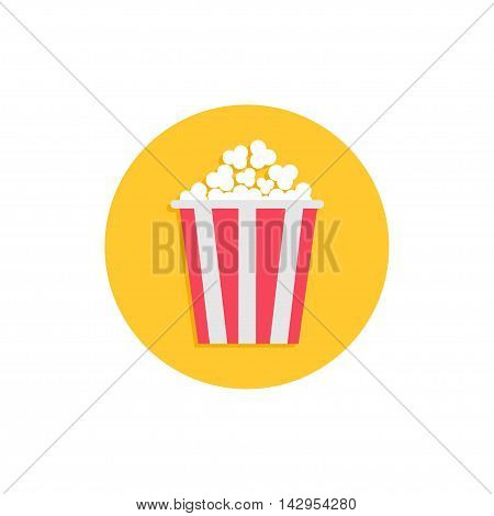 Popcorn. Cinema round circle icon in flat design style. Movie cinema icon. Tasty food. White background. Isolated. Vector illustration