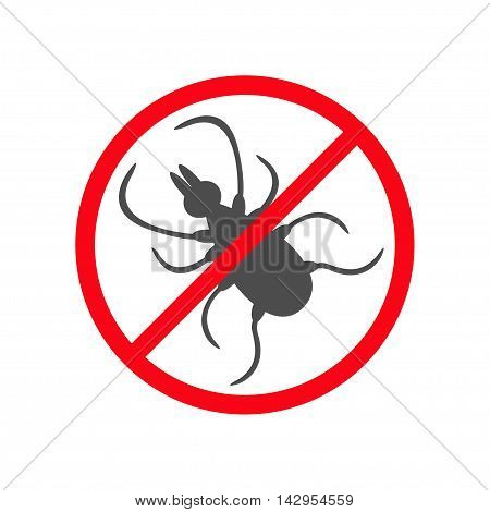 Tick insect silhouette. Mite deer ticks icon. Dangerous black parasite. Prohibition no symbol Red round stop warning sign. White background. Isolated. Flat design. Vector