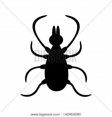 Tick insect silhouette shape. Mite deer ticks big icon. Dangerous black parasite. White background. Isolated. Flat design. Vector illustration