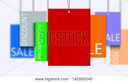 3D rendering multi color sales tags over white
