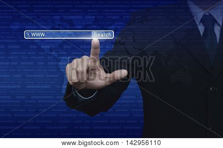 Businessman hand pressing search www button over digital world map with binary code blue background Searching system and internet concept Elements of this image furnished by NASA