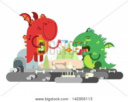 Ill dragon character. Animal funny with wing, monster comic, flat vector illustration