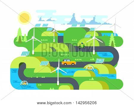 Green energy flat design. Ecology, and environment, water and natural resource. Flat vector illustration
