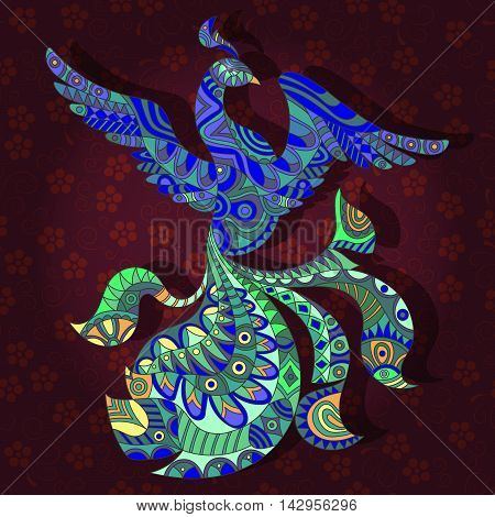 Abstract image of a peafowl on a dark floral background