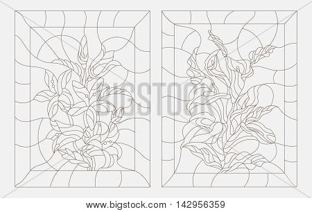Set contour illustrations in the stained glass style Calla lilies and bluebells flowers dark outline on a white background