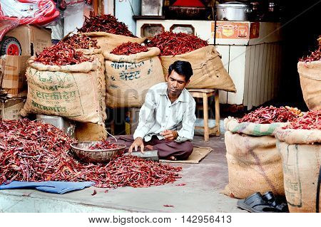 Jaipur Rajasthan India - July 29 2011: Seller selling the red chili pepper in sacks on the street market.