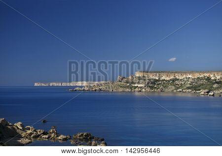 Tuffieha bay, Malta, scenic view in Tuffieha bay, Ghajn bay. Maltese coastline