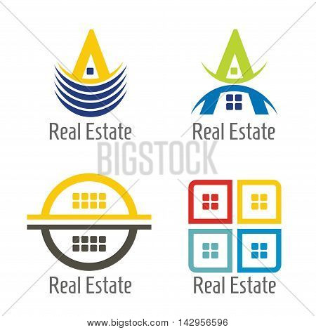 Real Estate icon set abstract illustration for your presentation