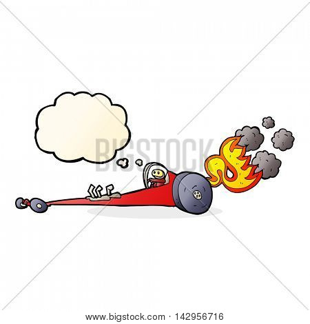 cartoon drag racer with thought bubble