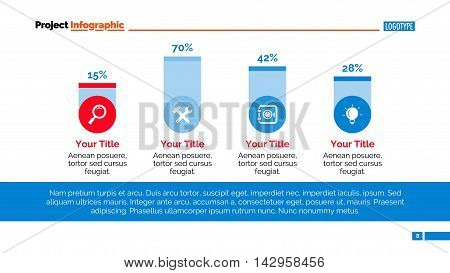 Bar chart. Element of chart with four columns, presentation, diagram. Concept for business project, presentation templates, reports. Can be used for topics like statistics, finance, marketing analysis