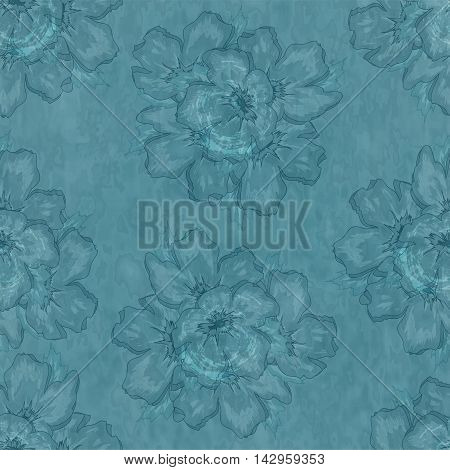 Seamless Floral Watercolor Blue Old-Fashioned Ornamental Pattern