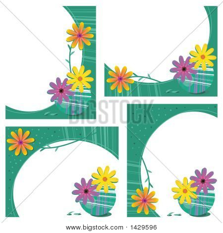 Four Modern Retro Style Frames With Gerbera Daisies