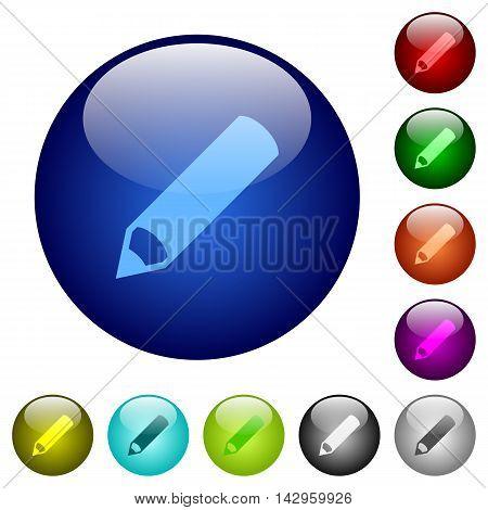 Set of color pencil glass web buttons.