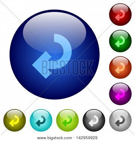 Set of color return arrow glass web buttons.