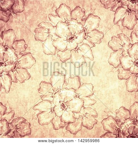 Vintage Seamless Pink Floral Old-Fashioned Ornamental Pattern