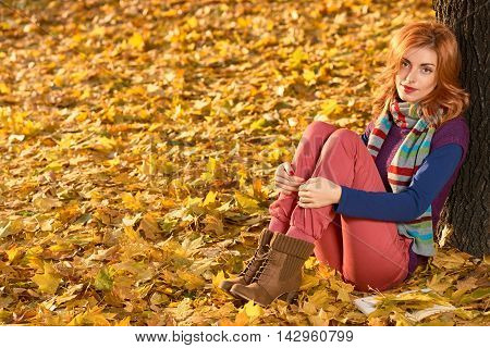 Fall Fashion. Woman in Stylish Autumn Outfit in park. Redhead Model in fashion knitted autumn clothes. Fall orange leaves around. Girl Relax Enjoy nature. Sadness Autumn outdoor fashion background