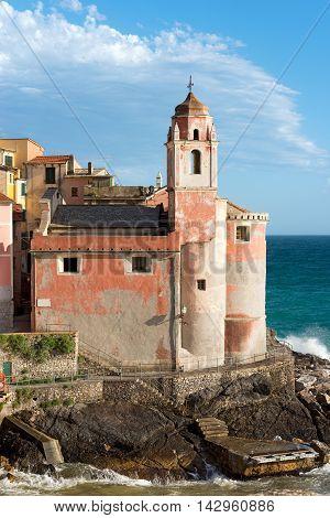 Church of St. George (San Giorgio) of Tellaro ancient small village near Lerici La Spezia Liguria Italy Europe