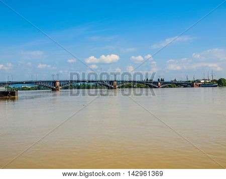 Rhine River In Mainz Hdr