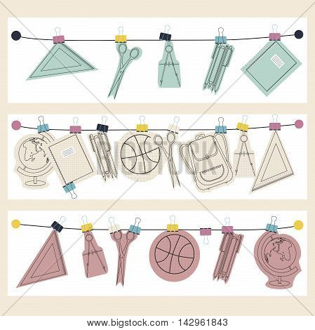 vector banner set of school supplies are suspended on a rope, back to school concept.
