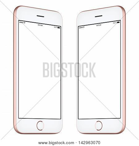 Smartphone. This smartphone mockup includes both sides of slightly rotated pink or rose gold smartphone with blank template screen. You can use this mockup for portfolio or design presentation.