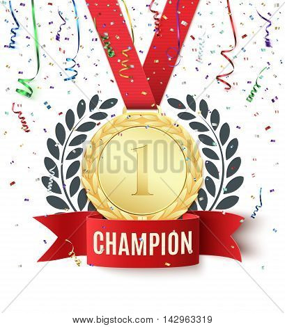 Champion, winner, number one background with red ribbon, gold medal, olive branch and confetti on white. Poster or brochure template. Vector illustration.