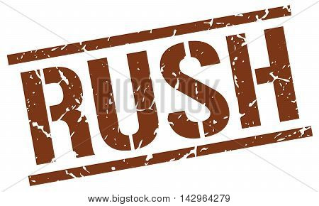 rush stamp. brown grunge square isolated sign