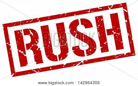 rush stamp. red grunge square isolated sign