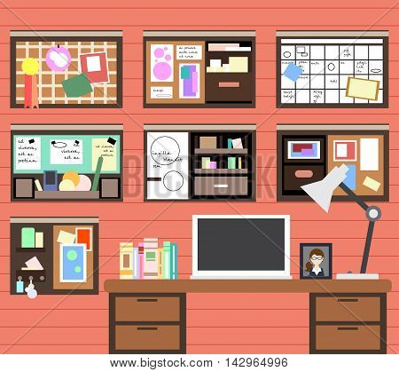 Workplace Of Man With The Computer, Lamp, Books And Many Details. Vector