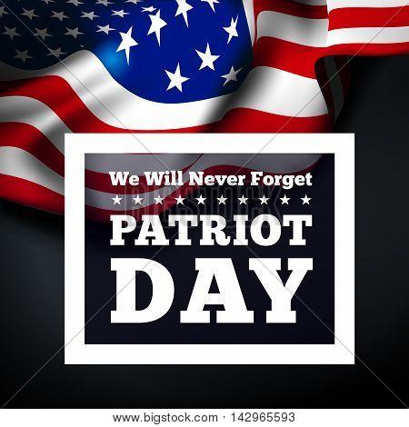 Patriot Day, September 11 waving USA flag . Vector illustration
