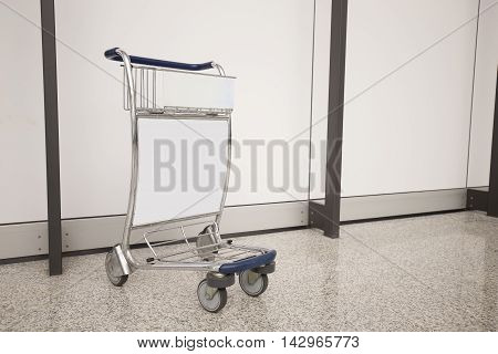 Airport Luggage Cart with empty copy space shot in hong kong asia