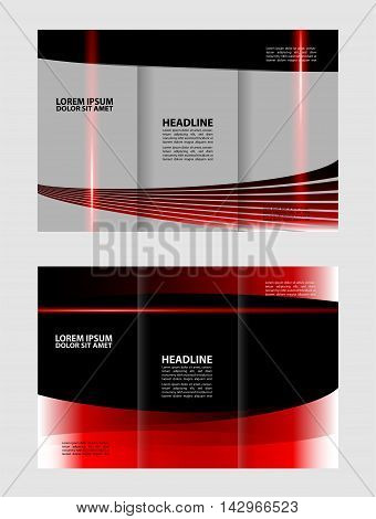 Vector empty tri-fold brochure print template design, trifold bright violet booklet or flyer