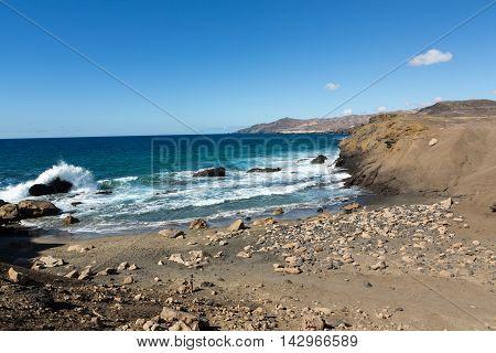 Rock coast near La Pared village on the south western part of Fuerteventura . Canary Islands Spain