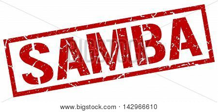samba stamp. red grunge square isolated sign
