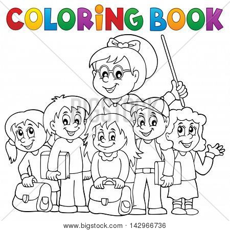 Coloring book school class theme 1 - eps10 vector illustration.