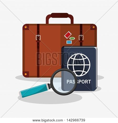 baggage passport lupe time travel vacations trip icon. Colorful design. Vector illustration