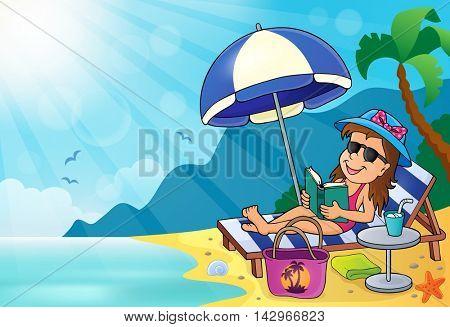 Girl on sunlounger image 3 - eps10 vector illustration.