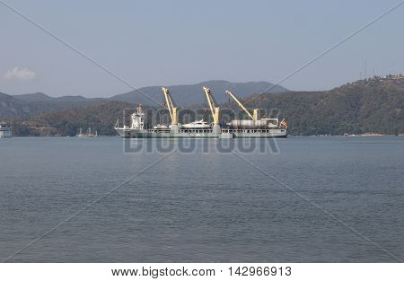 22ND JULY 2016, FETHIYE,TURKEY; The ANNIE-SOFIE general cargo ship which was built in 2008, moored in the port of Fethiye in Turkey, 22nd july 2016